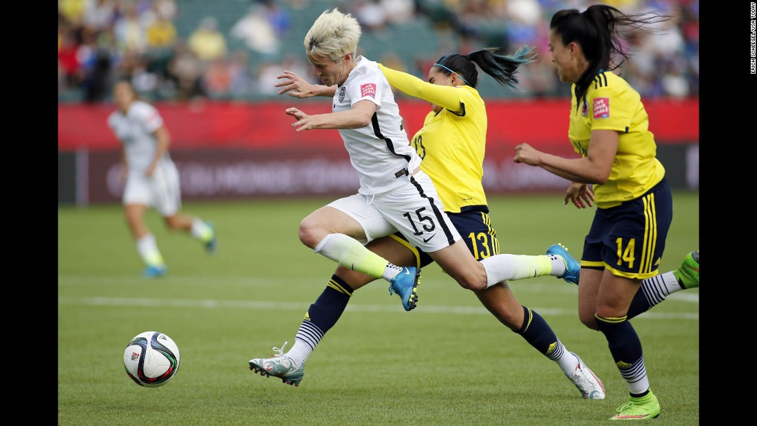 U.S. midfielder Megan Rapinoe is fouled by Colombia defender Angela Clavijo during a round-of-16 match in Edmonton on Monday, June 22. The foul was in the box, leading to a penalty that Carli Lloyd converted into a goal. The United States won the match 2-0 to advance to the quarterfinals.