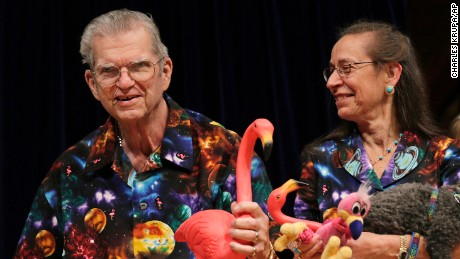 Pink flamingo creator Donald Featherstone, with wife Nancy, was honored as a past recipient at the 2012 Ig Nobel Prize ceremony at Harvard University.