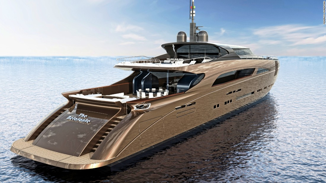 The Belafonte superyacht design from the stern, showing the large open lounges.