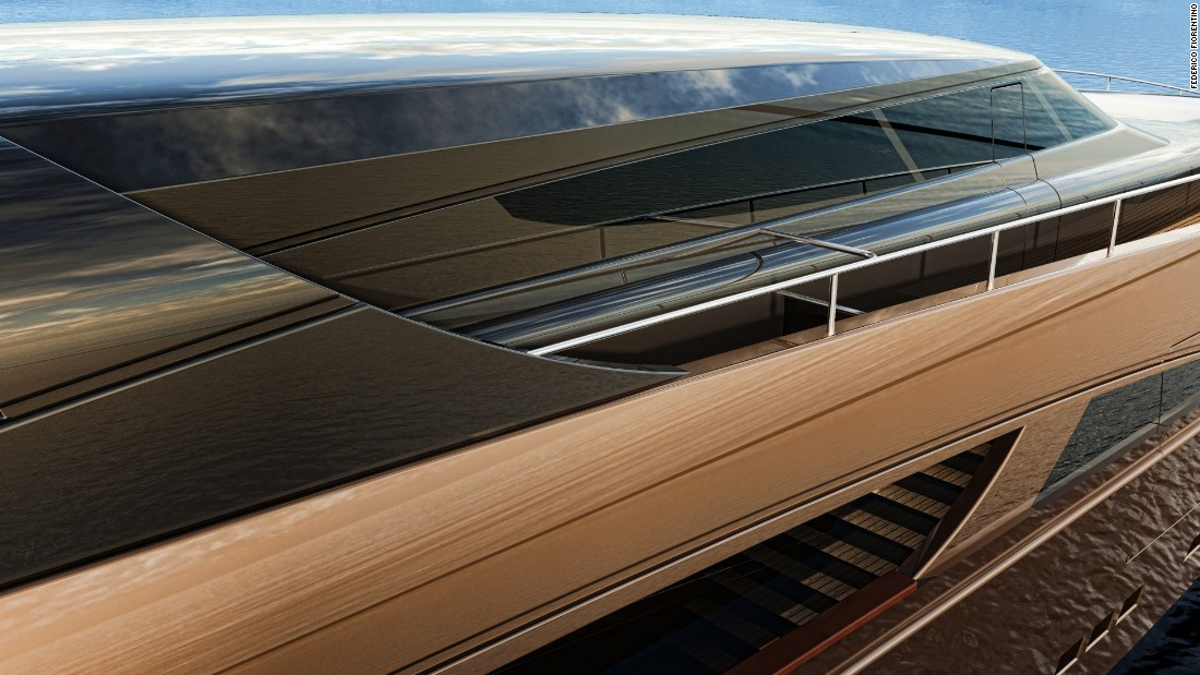 The sleek, streamlined lines of the Belafonte superyacht.