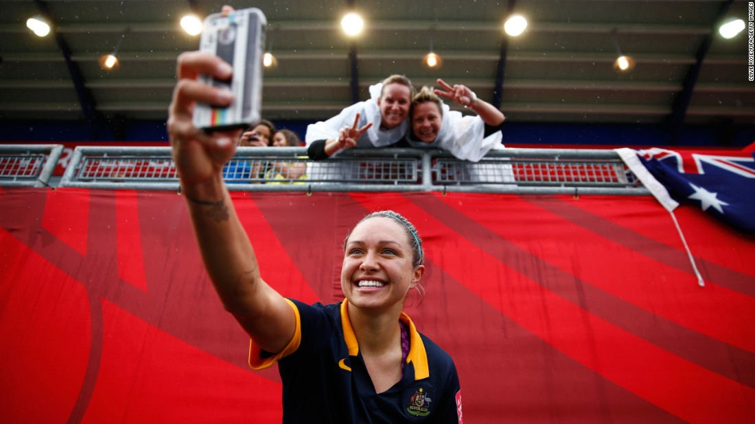 "Australian soccer player Kyah Simon takes a selfie on Sunday, June 21, after her team defeated Brazil in the knockout stage of the <a href=""http://www.cnn.com/2015/06/06/sport/gallery/women-worlds-cup-2015/index.html"" target=""_blank"">Women's World Cup</a>."