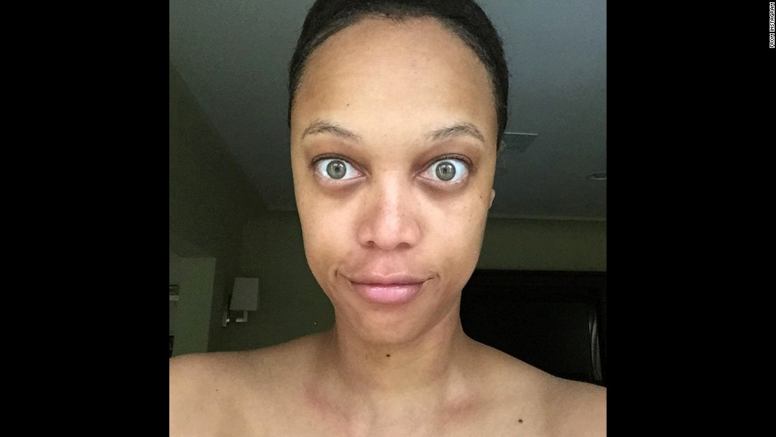 "Television personality Tyra Banks posted this <a href=""https://instagram.com/p/4CJxW3KQJc/"" target=""_blank"">makeup-free selfie</a> to Instagram on Wednesday, June 17. ""You know how people say #nofilter but you know there's a freakin' filter on their pic? Or maybe there's a smidge of retouching going on but they're lying and saying it's all raw & real?"" Banks wrote. ""Well, this morn, I decided to give you a taste of the really real me."""