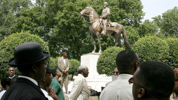 This statue of Nathan Bedford Forrest (a Civil War General who led troops against the north) is in Memphis, Tennessee.