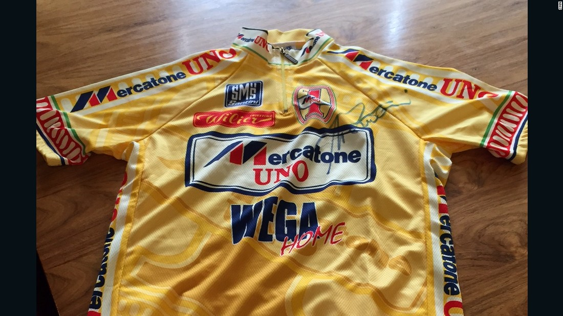 This Tour de France yellow jersey belong to Marco Pantani, who won the race in 2008 but was subsequently plagued by doping allegations.
