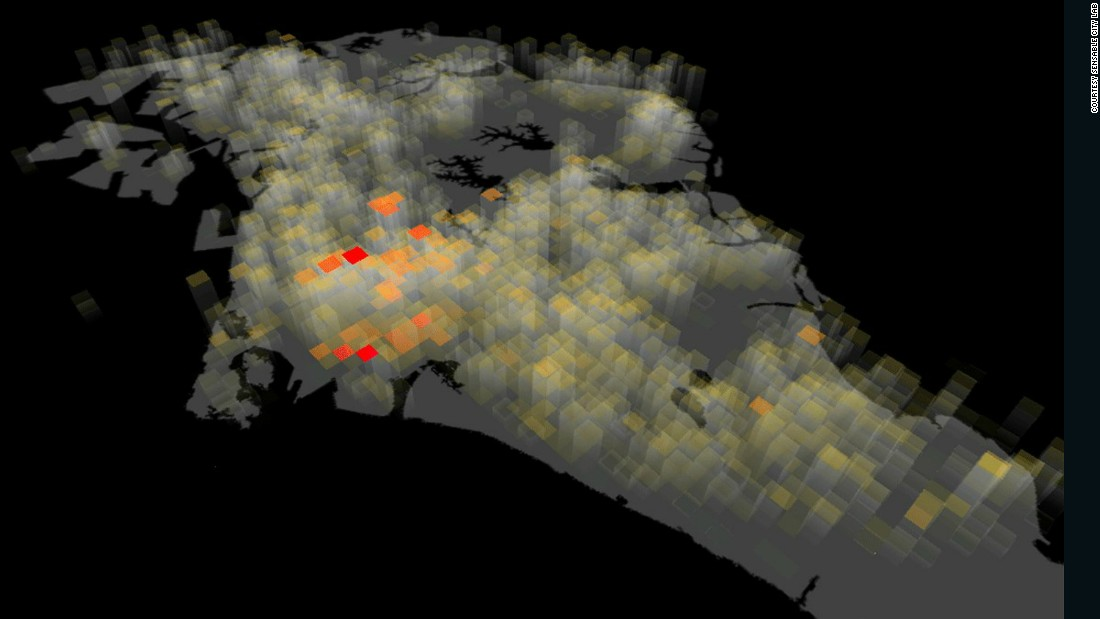 By using data from cell phone networks in Singapore, maps can be created to visualize where usage is highest helping those using the data identify where the number of people -- or crowds -- is highest (pictured).
