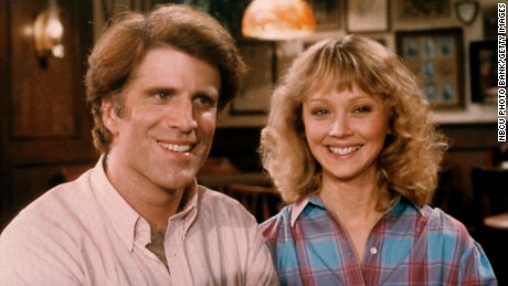 Ted Danson as Sam Malone, Shelley Long as Diane Chambers in 'Cheers'