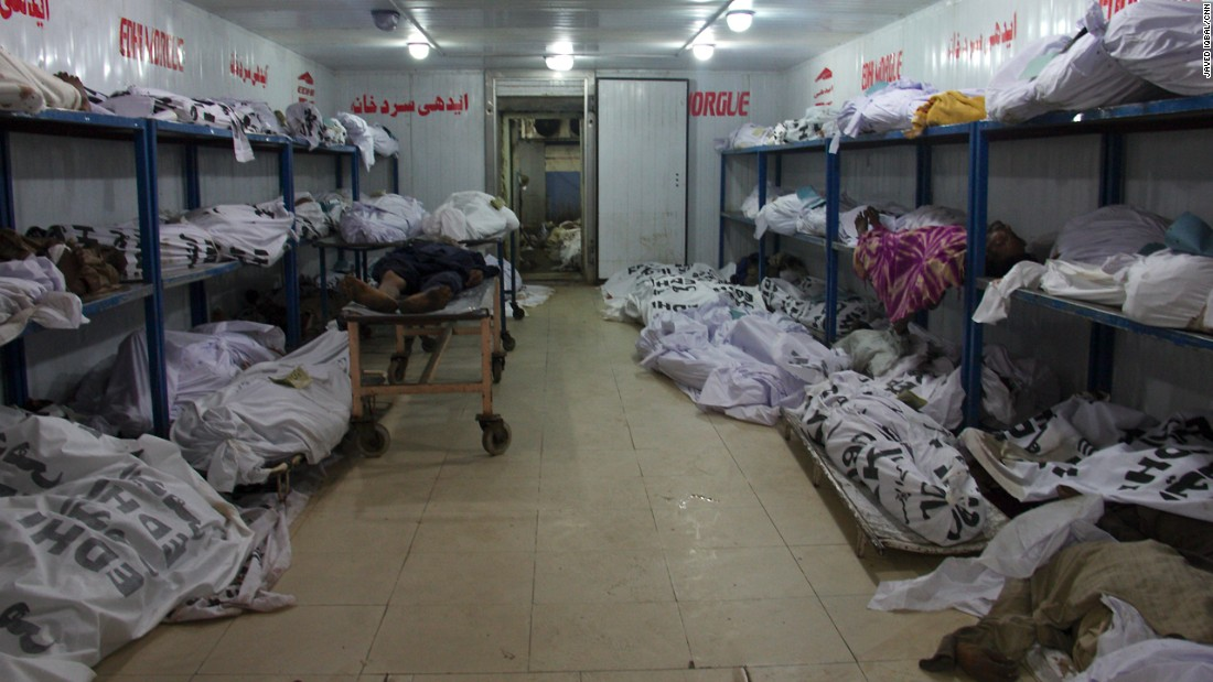 Unidentified bodies are stored in the Edhi morgue in Karachi. Power cuts mean this morgue is running its power off a generator, which is leading to a lack of proper cooling and the smell of putrefaction.