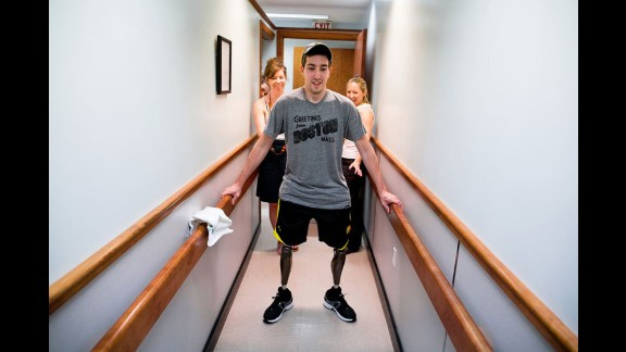 """Jeff Bauman remembers looking down at his legs. """"It was just pure carnage. I could see my bones and the flesh sticking out, and I just went into tunnel vision. I thought this is really messed up, this is messed up, that"""