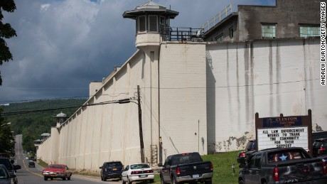 DANNEMORA, NY - JUNE 18: Clinton Correctional Facility is seen on June 18, 2015 in Dannemora, New York. After conducting a manhunt across approximately 10,000 acres for two escaped convicts from Clinton Correctional Facility on June 6, officials announced roads and roadblocks would be reopened on major routes going into Dannemora, where the prison is located. (Photo by Andrew Burton/Getty Images)