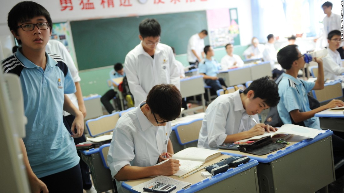 Students in China commonly have to take extra-curricular classes or hire tutors after school. The ultimate goal is to do well in annual National College Entrance Exams -- or gaokao -- the only way to get into college.