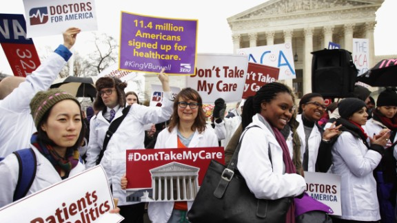 Supporters of the Affordable Care Act gather in front of the U.S Supreme Court during a rally March 4, 2015 in Washington, D.C.