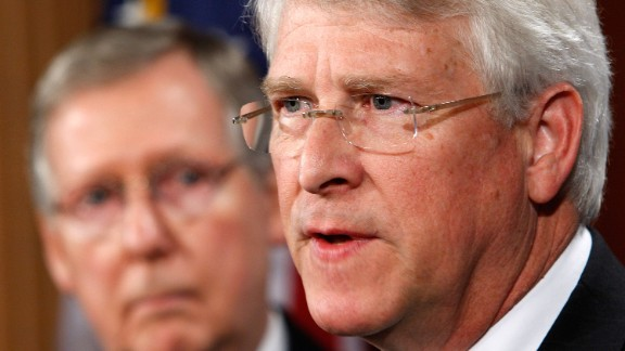 U.S. Sen. Roger Wicker (R-MS) (R) speaks as Senate Minority Leader Sen. Mitch McConnell (R-KY) (L) listens during a news conference on Capitol Hill January 12, 2010 in Washington, D.C.