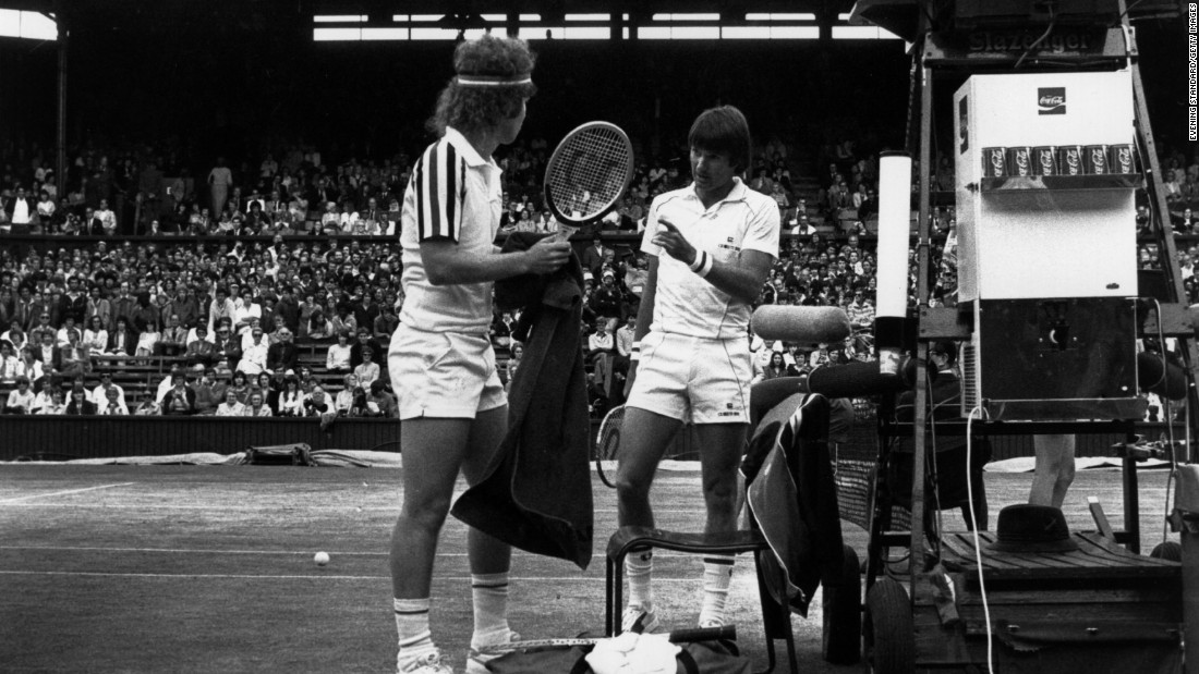 Jimmy Connors (right) survived as a baseline player during the rise of the serve-and-volley era. He won two Wimbledon singles titles, including a five-set victory over rival McEnroe (left) in the 1982 final.