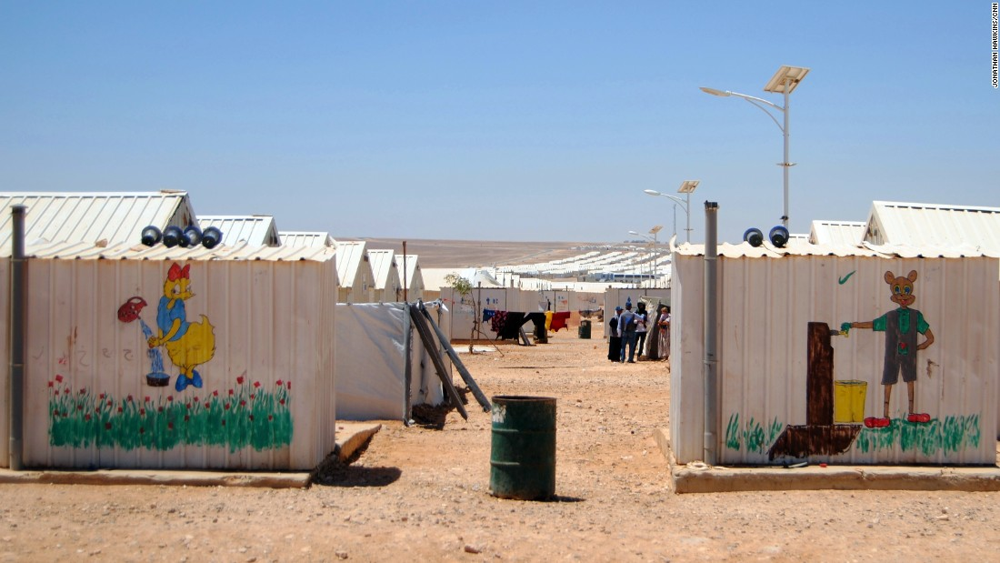 Azraq refugee camp is home to 14,000 Syrians displaced by war, according to UNICEF.