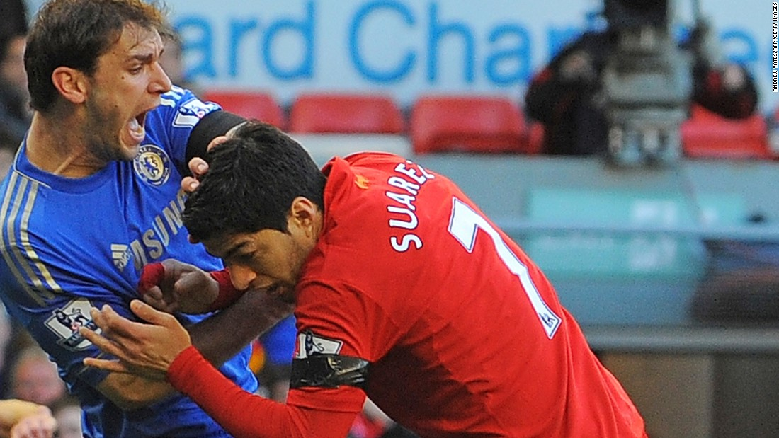 Chiellini was not the first player Suarez had bit. During his time with Ajax Amsterdam, he earned a seven-game ban for biting a PSV Eindhoven player in 2010. While with Liverpool, he missed a further 10 matches after biting Chelsea's Branislav Ivanovic in 2013.