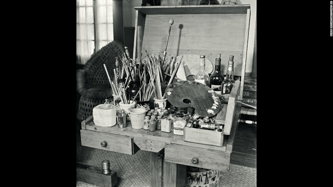 Kahlo's paint box in 1951. The artist developed her own recipes for creating special colors. In 1950, photographer Gisele Freund embarked on what was to have been a two-week trip to Mexico. She ended up staying for two years after Kahlo and her husband, artist Diego Rivera, befriended her. Kahlo allowed the photographer unprecedented access to her creative process.