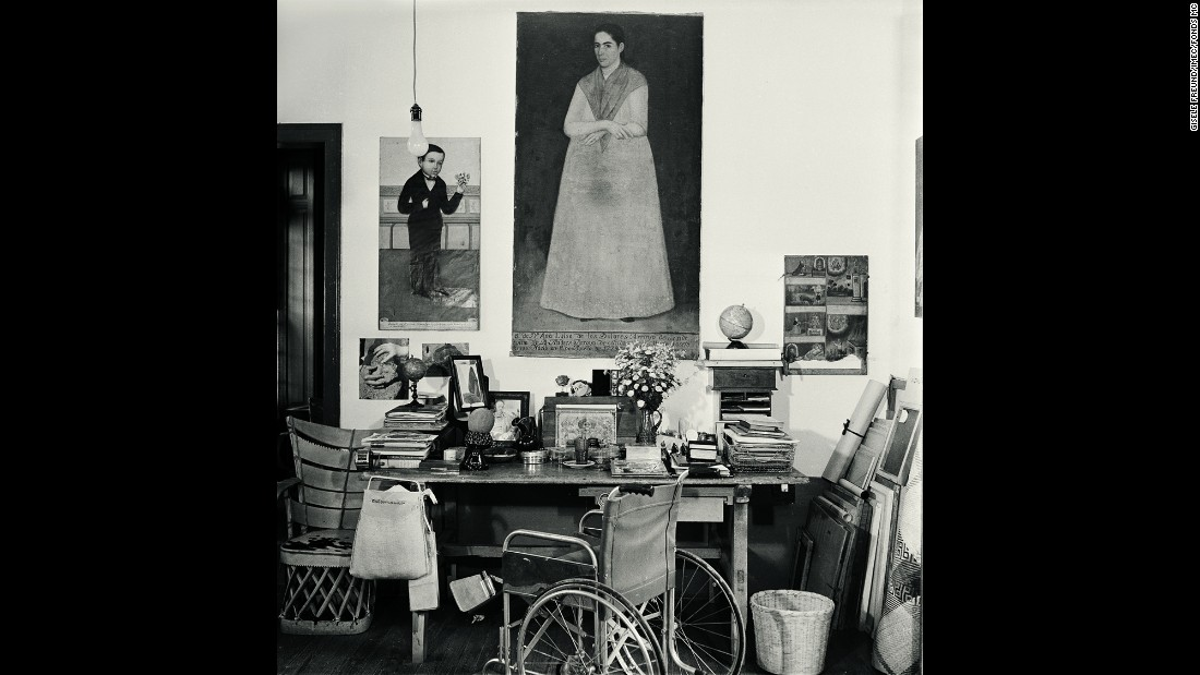 "A view of Kahlo's desk at her home ""La Casa Azul"" (The Blue House) in Mexico City."