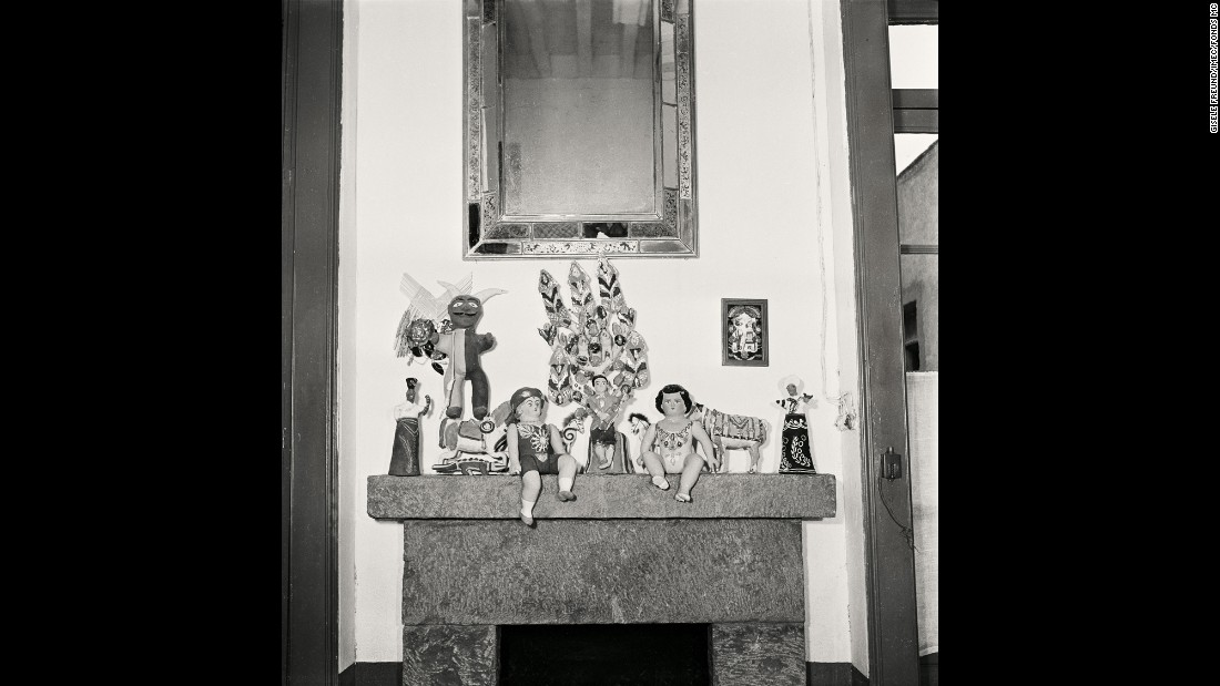 A view of a fireplace in Kahlo's home in 1951. The home was also her birthplace, and today it houses the Frida Kahlo Museum.