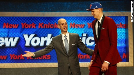 Kristaps Porzingis meets with Commissioner Adam Silver after being selected fourth overall by the New York Knicks in the First Round of the 2015 NBA Draft.