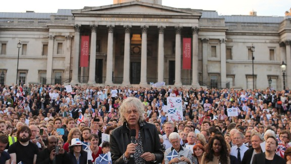 The success of Live Aid led to co-founder Bob Geldof receiving an honorary knighthood in 1986. He has continued his activism while investing time and money in TV production businesses. Geldof, now in his 60s, is shown here in 2014 urging Scots not to break away from the British government.
