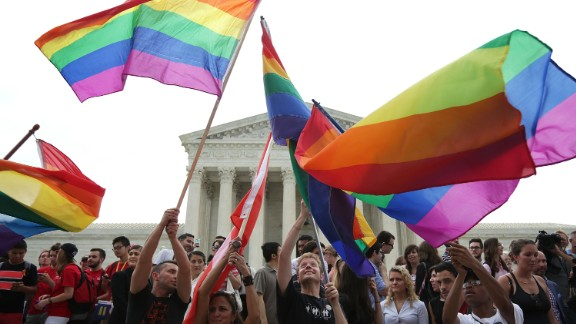 Same-sex marriage supporters celebrate outside the US Supreme Court after a ruling legalizing same-sex marriage.