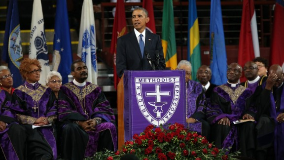 "President Barack Obama delivers the eulogy for South Carolina state Sen. Clementa Pinckney on Friday, June 26. Pinckney was a pastor at the Charleston, South Carolina, church where he and eight other people were fatally shot on June 17. Pinckney was 41 years old. ""We are here today to remember a man of God who lived by faith,"" Obama said. ""A man who believed in things not seen. A man who believed there were better days ahead, off in the distance. A man of service who persevered knowing full well he would not receive all those things he was promised, because he believed his efforts would provide a better life for those who followed."""