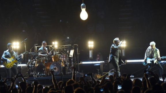 This iconic band's Live Aid show led to a memorable moment when frontman Bono jumped offstage to help a fan who was being crushed by the crowd at London's Wembley Stadium. In 2015, U2 launched a concert tour of North America and Europe, including this stop in Inglewood, California.