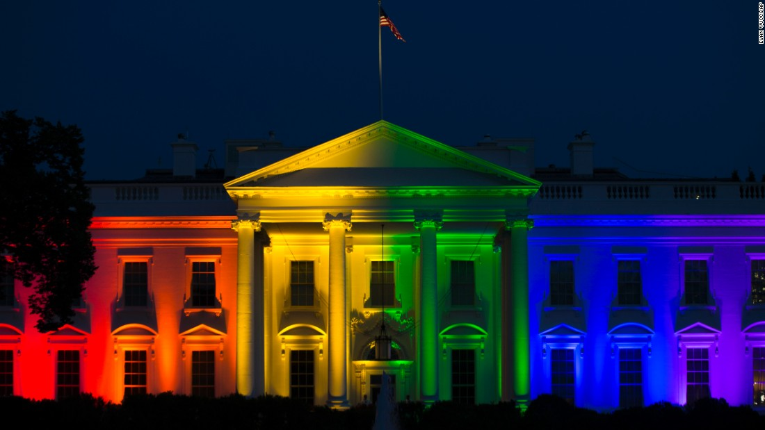 "The White House is lit up in rainbow colors in commemoration of the Supreme Court's ruling to legalize same-sex marriage on Friday, June 26. The court <a href=""http://www.cnn.com/2015/06/26/politics/supreme-court-same-sex-marriage-ruling/index.html"" target=""_blank"">ruled that states cannot ban same-sex marriage</a>, handing gay rights advocates their biggest victory yet."