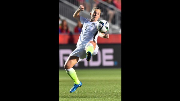 U.S. forward Amy Rodriguez kicks the ball during the China match.