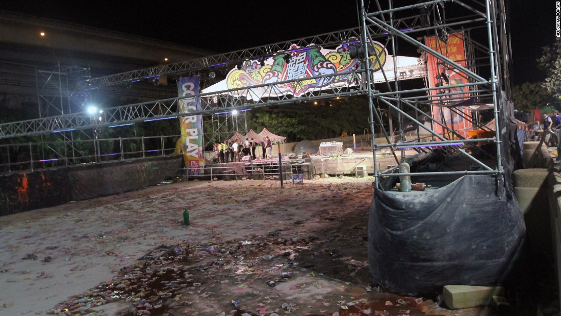 The park was hosting a Color Play Asia party when the unknown substance ignited over a stage.