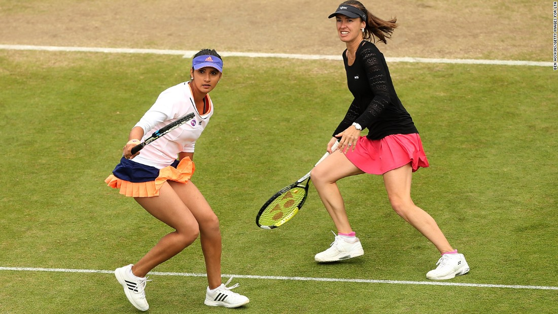 Hingis and doubles partner Sania Mirza (left) lost in the semifinals at Eastbourne against Caroline Garcia and Katarina Srebotnik, who would go on to win the title.