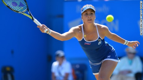 Switzerland's Belinda Bencic returns to Poland's Agnieszka Radwanska in the women's final match at the WTA Eastbourne International tennis tournament in Eastbourne, southern England on June 27, 2015. AFP PHOTO / GLYN KIRK (Photo credit should read GLYN KIRK/AFP/Getty Images