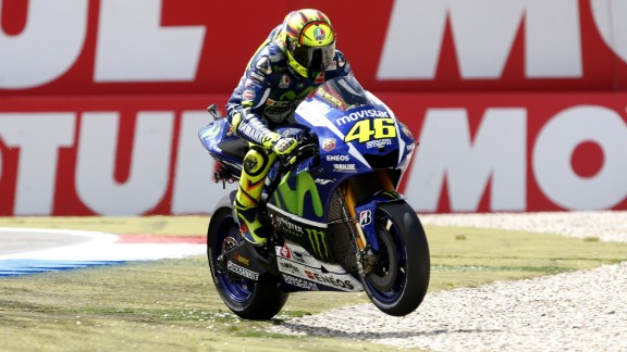 The Italian rides his Yamaha across the gravel following the race -- echoing the final chicane of the last lap, where he had to cut the corner when his bike touched that of Marc Marquez.