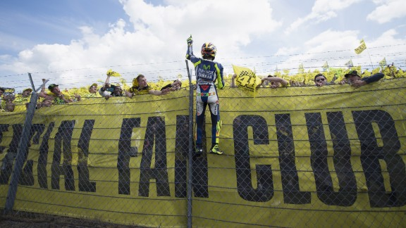 Rossi, who extended his championship lead to 10 points as he seeks a first title since 2009, is a popular figure with motorcycling fans.