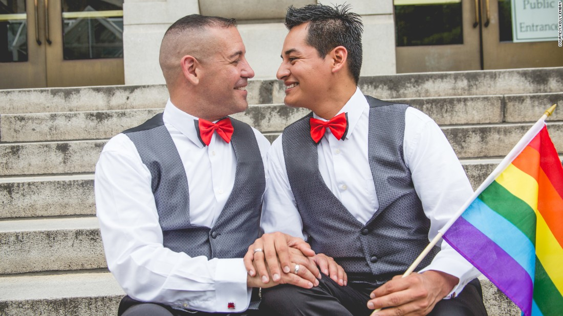 "Carlos Santos-Herrera and David Herrera-Santos  celebrate their union. ""When we heard the news this morning, I jumped up, and I started screaming,"" Santos-Herrera said. ""I called (my fiancé) up and said: 'We need to get married now. Forget about Florida.' """