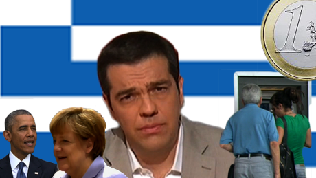 Collage of world leaders involved with Greek debt crisis and accompanying images
