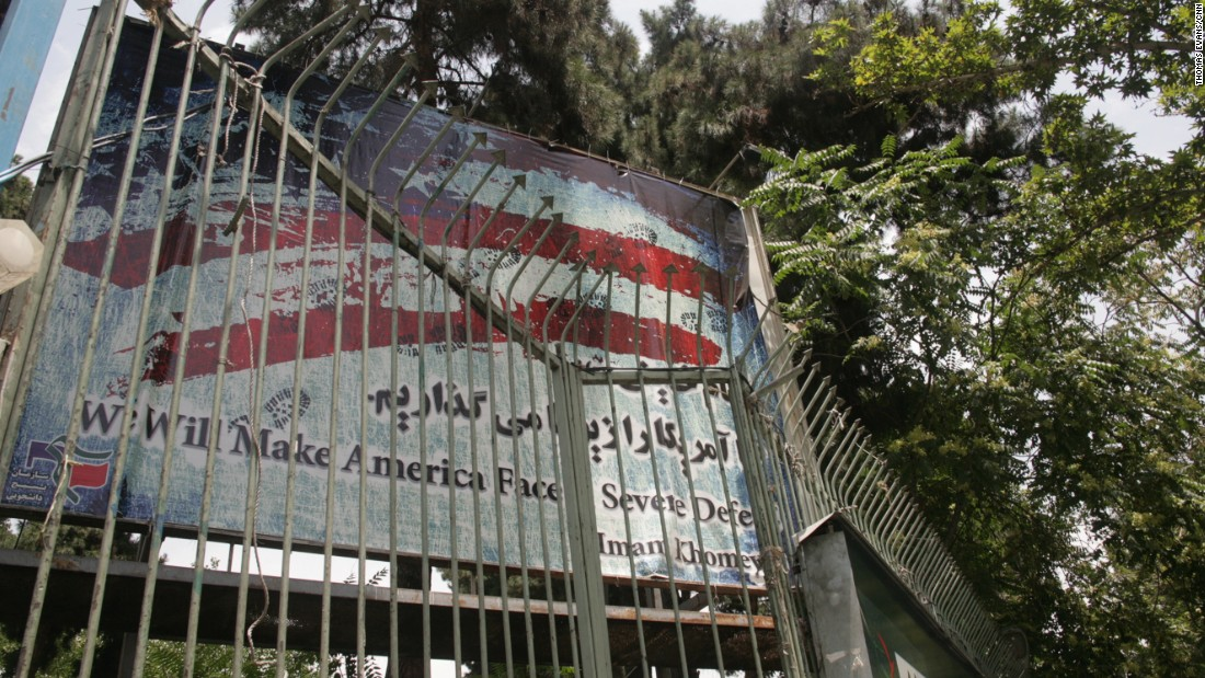 """We will make America face severe defeat,"" Iran's late Supreme Leader Ayatollah Ruhollah Khomeini vowed -- a quote displayed on the entrance gate."