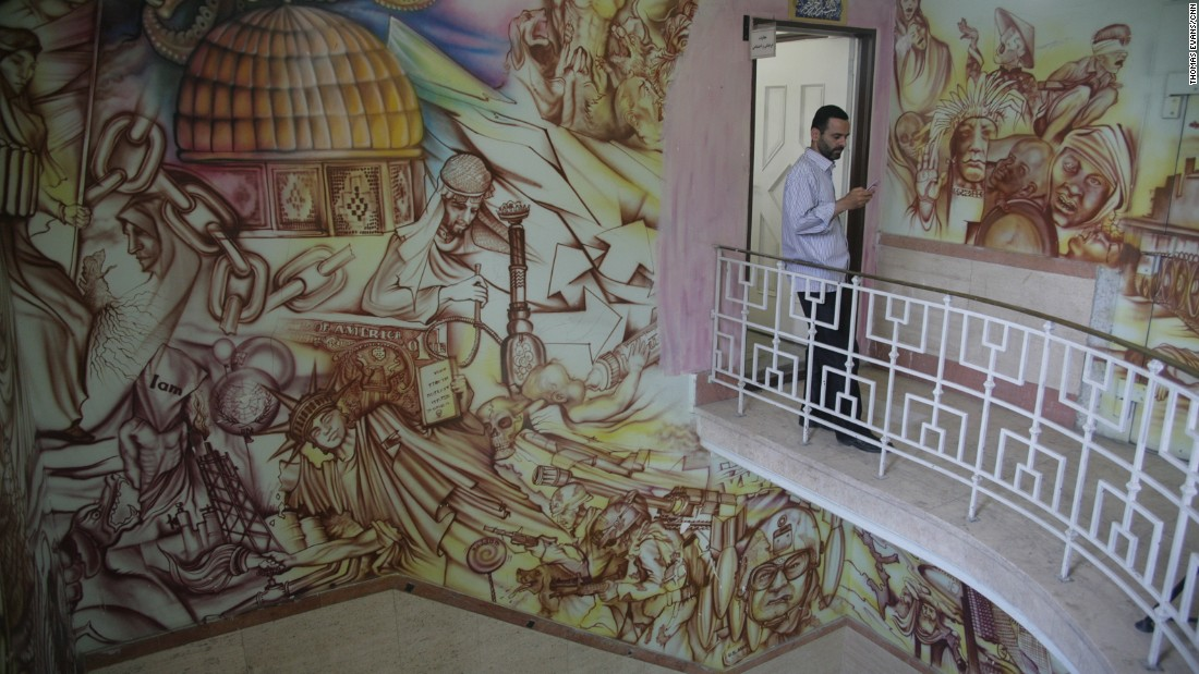 A mural painted on the walls inside depicts the U.S. invasion of neighboring Iraq.