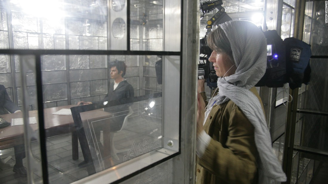 "CNN camerawoman Claudia Otto films the ""glass room"" -- a soundproof room built by the Americans to prevent eavesdropping."
