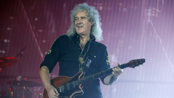 Guitarist Brian May of the British rock band Queen performs at the Zenith arena in Paris on January 26, 2015.