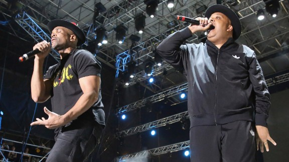 """Run-D.M.C.'s Darryl McDaniels, left, aka D.M.C., and Joseph Simmons, aka Run, rocked Tennessee's Bonnaroo Music and Arts Festival this year, reprising hits such """"It's Tricky,"""" and """"Walk This Way."""" Here they perform in Miami Gardens, Florida, in 2015."""
