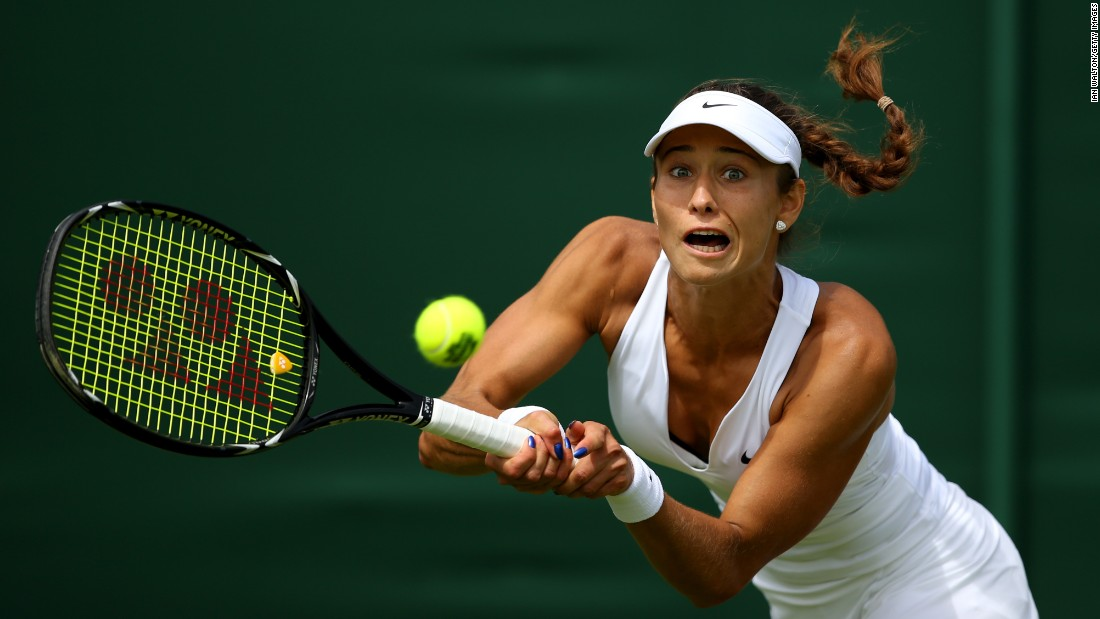 Vitalia Diatchenko plays a forehand during her first-round Wimbledon match against Anna-Lena Friedsam on Monday, June 29.