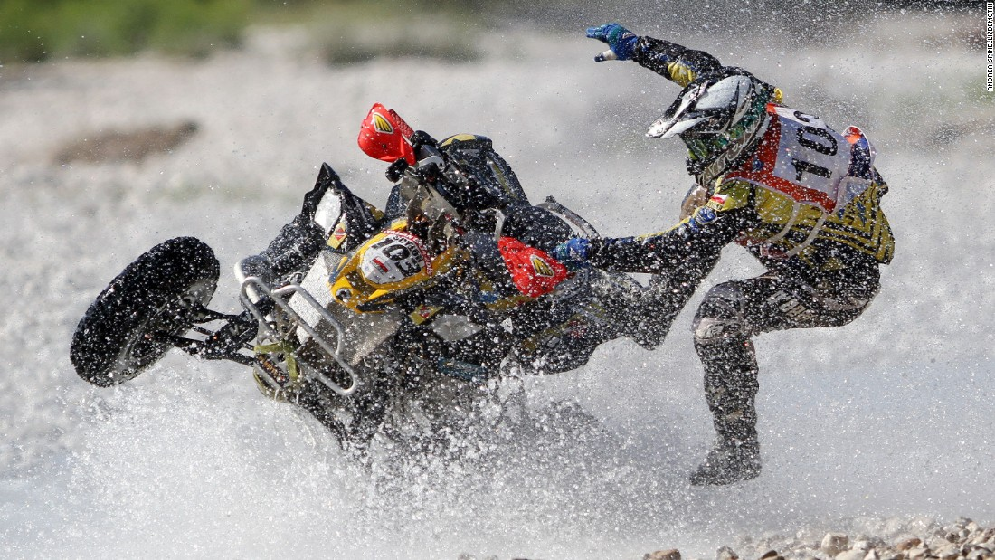 Adrian Bernat loses control of his vehicle while taking part in the Italian Baja race on Sunday, June 28.