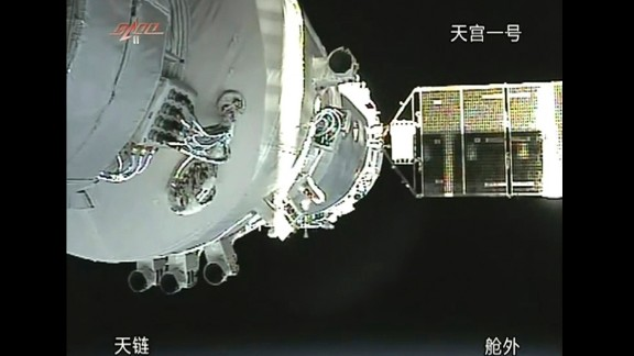 In this image taken from China's CCTV, the Shenzhou 8 craft docks with the orbiting Tiangong 1 module in November 2011. The ability to bring together two systems moving at such high speeds can also be used not merely for rendezvous, but attack and targeting if a conflict were to break out in space.