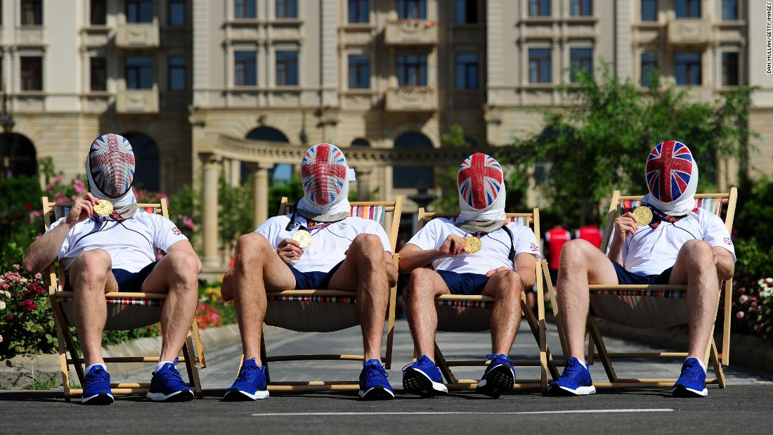 "From left, British fencers Marcus Mepstead, Richard Kruse, Alex Tofalides and Benjamin Peggs show off the gold medals they won in the team foil event Sunday, June 28, at the European Games. <a href=""http://www.cnn.com/2015/06/23/sport/gallery/sports-what-a-shot-0623/index.html"" target=""_blank"">See 37 amazing sports photos from last week</a>"