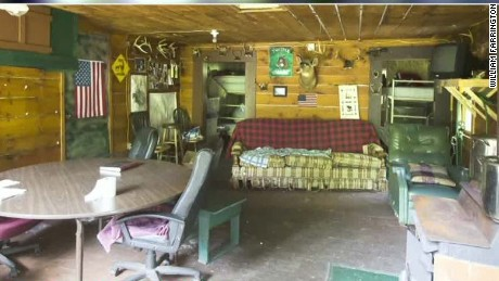 Inside a cabin where the fugitives stayed