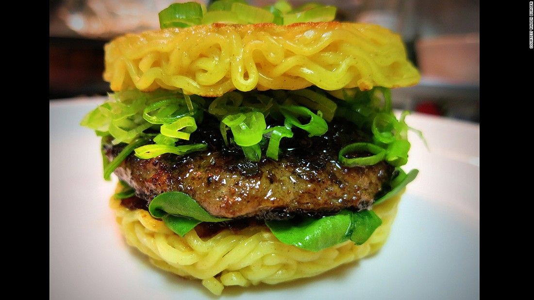 "This beef patty sandwiched between two ""buns"" of ramen noodles can be devoured on both coasts.  Ramen Burger has restaurants in two locations -- New York and  Los Angeles."