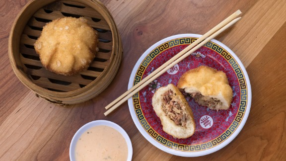 """Ever thought to yourself, """"Traditional Asian dumplings would taste a whole lot better if they were stuffed with pastrami, Swiss cheese and sauerkraut""""? Then you're going to love the pastrami bao served at Bing Bing Dim Sum in Philadelphia."""