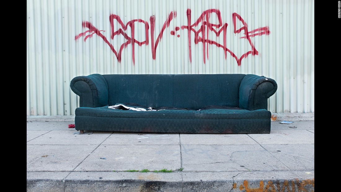 A sofa on Wilhardt Street in the Chinatown neighborhood.
