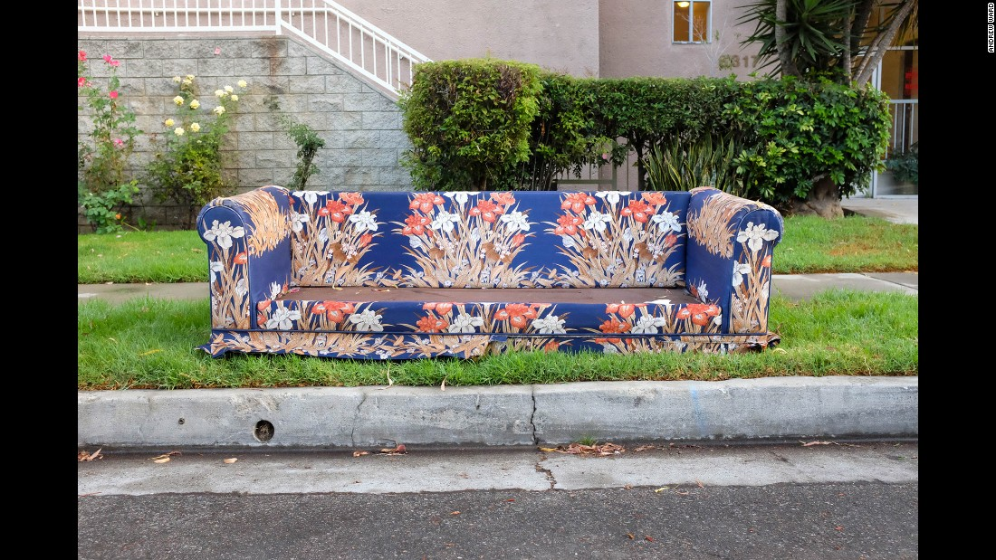A sofa on Monterey Road in the community of Hermon.